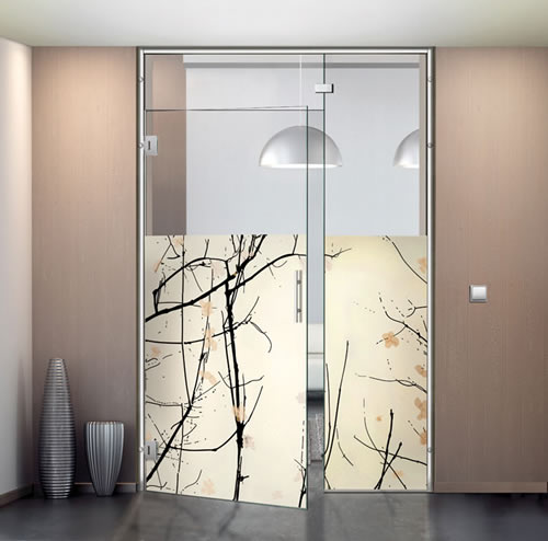 Puertas de paso de cristal abatibles bisagra aluminios - Fabrica puertas madrid ...